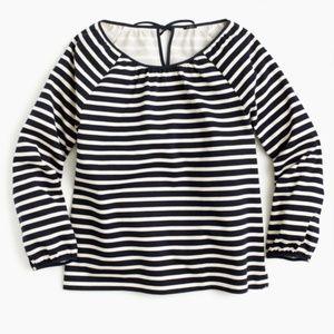 J. Crew Womens Stripe Print Top Blouse Cotton Blue